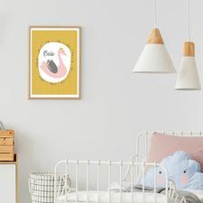 Kids' Mustard Swan Personalised Unframed Paper Print