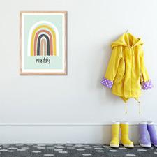 Kids' Mint Rainbow Personalised Unframed Paper Print