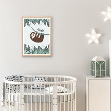 Kids' Boy Tree Sloth Personalised Unframed Paper Print