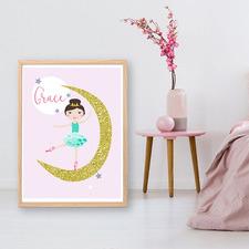 Kids' Ballerina Flower Personalised Unframed Paper Print