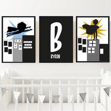 Kids' Superhero Personalised Unframed Paper Print Triptych