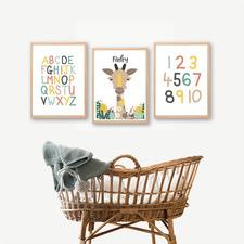 Kids' Giraffe, Alphabet & Number Personalised Unframed Paper Print Triptych