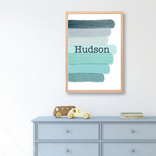 Kids' Watercolour Strokes Personalised Unframed Paper Print