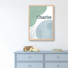 Kids' Watercolour Abstract Personalised Unframed Paper Print