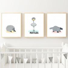 Kids' Emu, Echidna & Platypus Personalised Unframed Paper Print Triptych