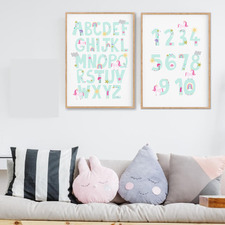 Rainbow Unicorn Alphabet Number Set Unframed Paper Print Wall Art Diptych