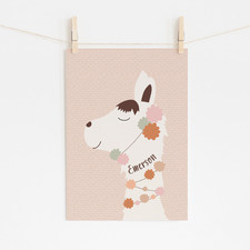 Boho Llama Personalised Unframed Paper Print Wall Art