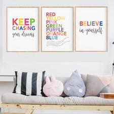 Inspirational Playroom Unframed Paper Print Wall Art Triptych
