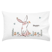 Girls Pink Garden Bunny Personalised Cotton Pillowcase
