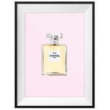 Pink Chanel Eau De Parfum Framed Printed Wall Art