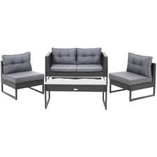 4 Seater Maxene PE Rattan & Steel Outdoor Sofa Set
