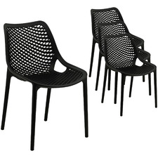 Black Wolfe Outdoor Dining Chairs (Set of 4)