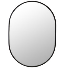 Black Pill Shaped Stainless Steel Wall Mirror