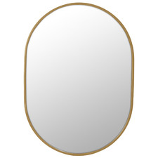 Satin Brass Pill Shaped Stainless Steel Wall Mirror