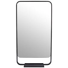 Radius Corner Stainless Steel Wall Mirror with Shelf
