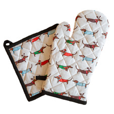 2 Piece Christmas Dog Cotton Pot Holder & Oven Glove Set