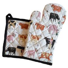 2 Piece Dairy Cow Cotton Pot Holder & Oven Glove Set