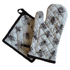 2 Piece Sketch Bee Cotton Pot Holder & Oven Glove Set