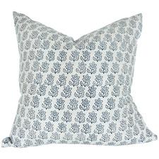 Indigo Budapest Hand Block Printed French Linen Cushion