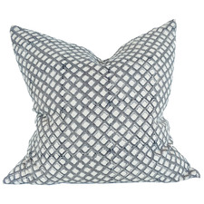 Grey Odense Hand Block Printed French Linen Cushion