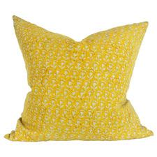 Mustard Belgrade Hand Block Printed French Linen Cushion