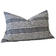 Hand Block Printed Kimpton French Linen Lumbar Cushion