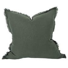 Fringed Hazelhurst French Linen Cushion