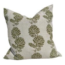 Artisan Block Printed Monstera French Linen Cushion