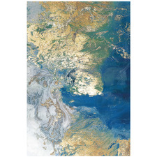 Marbled Blue & Gold III Stretched Canvas Wall Art