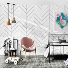 Black & White Herringbone Wallpaper