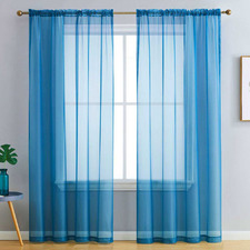 Aqua Luxton Rod Pocket Voile Sheer Curtains (Set of 2)