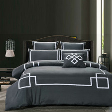Charcoal Burgess Quilt Cover Set