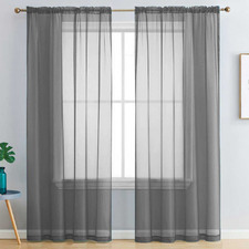 Dark Grey Luxton Rod Pocket Voile Sheer Curtains (Set of 2)