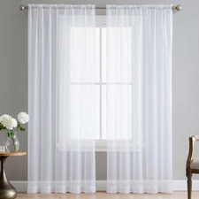 White Luxton Rod Pocket Voile Sheer Curtains (Set of 2)