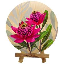 Pink Waratah Australian Décor on Easel