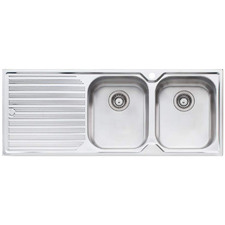 Diaz Right Hand Double Topmount Kitchen Sink with Drainboard