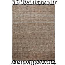 Black Tasselled River Weave Hemp-Blend Rug