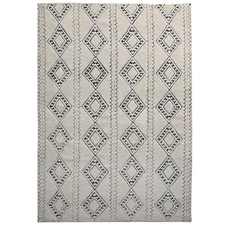 Cream Honeycomb Weave Wool-Blend Rug