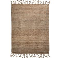 White Tasselled River Weave Hemp-Blend Rug
