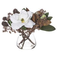 35cm Faux Magnolia Gum Nut Mix Plant with Vase