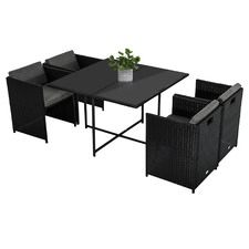 8 Seater Black Shepard Outdoor Dining Table & Chair Set