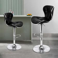 Leana Swivel Faux Leather Adjustable Barstools (Set of 2)