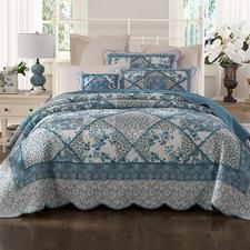 Blue Bouquet Cotton Coverlet Set