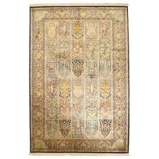 Baramula Faris Hand-Knotted Silk & Cotton Kashmiri Rug