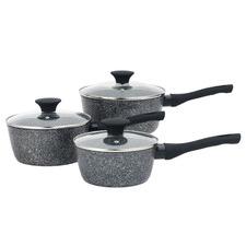 3 Piece Salter Black Aluminium Saucepan Set
