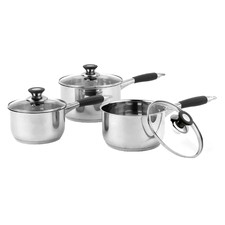 3 Piece Salter Black & Silver Stainless Steel Saucepan Set