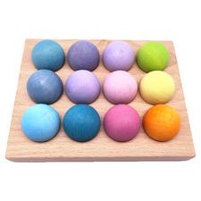 12 Piece Pastel Wooden Ball Set