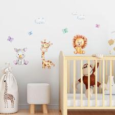 10 Piece Rhino Giraffe & Lion Wall Decal Set