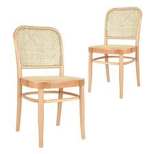 Hoffman Replica Rattan & Beech Wood Dining Chairs (Set of 2)