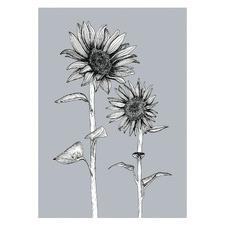 Gunmetal Sunflowers Unframed Paper Print